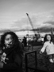 Olympia WA (Warfield360) Tags: blackandwhite kids playground sky clouds crane children playing