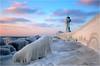 Frozen Lighthouse (Sandra OTR) Tags: germany rügen ruegen sassnitz leuchtturm lighthouse frozen ice winter schnee kalt kälte eis gefroren sturm storm sunrise light clouds sea baltic ostsee