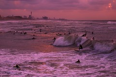 Surfing at sunset - Tel-Aviv beach - Follow me on Instagram:  @lior_leibler22 (Lior. L) Tags: surfingatsunsettelavivbeach surfing sunset telaviv beach telavivbeach israel travel surfers