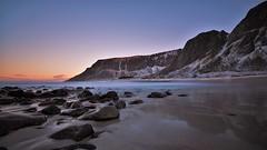 Beach sunrise (Rudi Verspoor) Tags: sunrise sun light morning beach rocks mountain landscape nikon d7200 1020mm water seascape norway lofoten