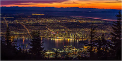 Vancouver sunset (beninfreo) Tags: vancouver sunset canon canon5d3 contrast colour canada britishcolumbia grousemountain night light city cityscape