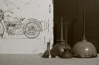 Still Life with drawing of a Harley-Davidson motorcycle dated July 3, 1928