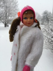 More snow! (Foxy Belle) Tags: doll barbie skipper snow coat white plush mod vintage little sister hot pink boots cold winter outside sausage curl pigtails bows