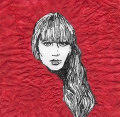 red sparrow (kmkirbynapkins) Tags: napkin art kmkirby illustration redsparrow jenniferlawrence spy russia