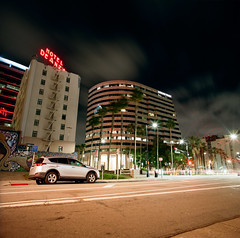 San Jose (bior) Tags: sanjose downtownsanjose longexposure night downtown hasselblad500cm distagon mediumformat 120 6x6cm kodakportra portra street tower hoteldeanza