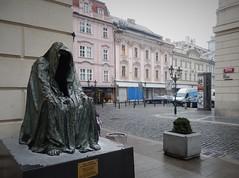 Morbid much? (yon_willis) Tags: praha českárepublika česko staréměsto plášťsvědomí 2014 prague czechrepublic oldtown europe cloakofconscience sculpture streetscene