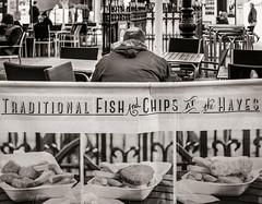 Tradition (raymorgan4) Tags: fish chips pies sausages scampi thehayes hayesisland cafe eating cardiff street urban blackandwhite monochrome dining fujifilm x100f fuji food simple pastie burgers fries cod plaice haddock fishcakes