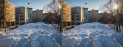 Glacier along one of the streets in Moscow (urix5) Tags: stereox moscow russia winter snow glacier street sunny 3d stereo stereoscopic stereoscopy stereopair crossview crosseyed shotoniphone