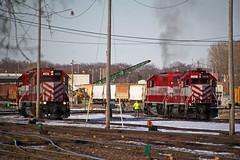 L863 parks their power as another crew tries to diagnose 4185's smoking problem (AndyWS formerly_WisconsinSkies) Tags: train railroad railway railfan wisconsinandsouthern wsor watco wamx emd gp392 sd402 locomotive