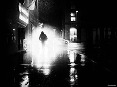 your are the ligth of the world! (René Mollet) Tags: rain renémollet march light night nightshot nacht aarau street streetphotography shadow silhouette streetart streetphotographiebw