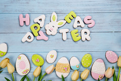 Easter cookies letter Happy Easter and colorful eggs with tulips on wood background (lyule4ik) Tags: easter holiday decoration nest celebration background wooden wood blue decorative event natural season seasonal spring tradition traditional basket egg color colorful concept design festive food happy nature rustic symbol turquoise life woodenbackground present texture bank table animal greetingcard time copy pattern space colored copyspace lay panel feather orange dyed april