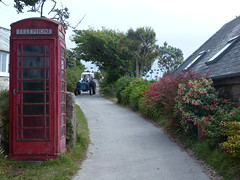 High Street, St Martin's (Marit Buelens) Tags: fuchsia agapanthus yucca tree red blue tractor car traffic highstreet mainroad telephone telephonebooth phonebox house islesofscilly scillies stmartins middletown england uk