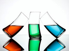 RGBalance (Karen_Chappell) Tags: rgb red green blue glass glasses white stilllife tilt balance three 3 glassware reflection liquid colourful multicoloured colours colour