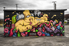 Glotón colorido. Colourful piggish (Fernando Alcáuzar) Tags: graffiti grafiti bart gluttonous piggish glotón streetart pintura