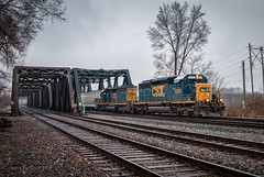 Scrapping Up Some Light (Wheelnrail) Tags: csx csxt ohio columbus train trains emd sd402 q311 railroad rail road locomotive capitol classic power winter oh lm cabin rails cloudy low light