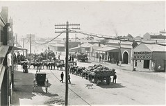 Bullock teams in the street at Broken Hill, N.S.W. - very early 1900s (Aussie~mobs) Tags: niemannbros srgray bullockteams wagons dray electricitypole telegraphpole streetscape brokenhill newsouthwales vintage australia gwoodandson