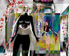 Flower child/Artist : Rebeca Bashly (THX 4million View - Bamboo Barnes - Artist.Com) Tags: rebecabashly surreal secondlife installationart virtualart digitalart manipulation light shadow vivid black red face woman blue yellow flower white grey pink bamboobarnes texture