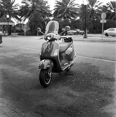 The Vespa At City Park, Tri-X Film (bongo najja) Tags: x tri 35 evs mx rolleiflex vespa