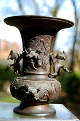 Usubata, Buddhist Vase (TREASURES OF WISDOM) Tags: guvase usubatavase brilliant bronze buddhist buddhism bronzetreasures wow wonderful worship whatisthis ritual religious tantric yes unusual unseen unknown intresting item ommanipadmihum pagan puja artefact artifact asianart ancientworld spiritual shamanic spirituality sacred shrine spirit statue sculpture deity healing love longevity look like collection view vibes visit viyals qilin foodogs vase