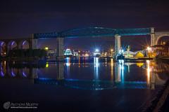 Boyne Viaduct and reflection (mythicalireland) Tags: boyne viaduct bridge lights reflection river twilight blue hour drogheda louth ireland