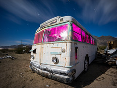 Not any more (Nocturnal Bob) Tags: owensvalley california ca abandoned white bus junk yard night light painting long exposure sony a7r voigtlander super wide heliar 15mm f45 aspherical iii lens vm protomachines radium led6