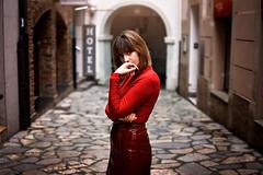 Vanessa (David-Vazquez-Photography) Tags: girl model beauty portrait red dress hair bokeh d7200 light eyes