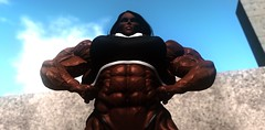 Look in amazement! (Ms Soul) Tags: muscularwoman muscular muscle largebiceps gym stunning shemale showingoff strength abs posing fitness bodybuilder