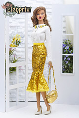 Decisive ITBE In Yellow Sequined Godet Skirt and Hand Embroidered Cardigan by ELENPRIV (elenpriv) Tags: spring melody collection elenpriv decisive itbe yellow sequined godet skirt hand embroidered cardigan 16inch fr16 integrity toys jason wu doll elena peredreeva handmade clothes
