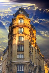 Paris France - Montepio Building - Financial Activities (Onasill ~ Bill Badzo) Tags: architecture empire victorian style high financial activities france paris historic building montepio notre dame victoires balcony dome onasill flatiron monument sky clouds sunset apartments condos travel vacation tourist light