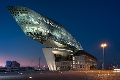 Antwerp Porthouse II (Alec Lux) Tags: antwerp zahahadid antwerpen architecture belgium bluehour building city cityscape colorful colors contrast design lights modern night nightscape port porthouse structure urban