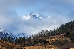 'Peaking' Through (Stoates-Findhorn) Tags: 2018 winter mist hillfog clouds forcan highland scotland sgurrnasgine thesaddle mountain a87 snow sgurrnaforcan glenshiel ridge munro unitedkingdom gb