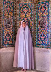 Muslim Woman Wearing Chandor, Nasir al-Mulk Mosque, Shiraz, Fars Province, Iran (Feng Wei Photography) Tags: islamicculture persianculture middleeast ornate farsprovince islam traveldestinations persian landmark vertical shiite colorimage shiraz placeofworship shiiteislam islamic religion indoors famousplace prayerbeads iran iranianculture travel muslim woman decoration mosque holy literature tourism faith nasiralmulkmosque irn