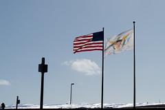 US and VI flag at the airport, St Thomas Virgin Islands
