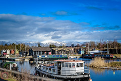 Boats moored at Helix Park, Falkirk, Scotland (picsbyCaroline) Tags: boat barge water canal scotland mountains hills snow sun sky clouds blue falkirk united kingdom helix park walk view beauty scenery scenic