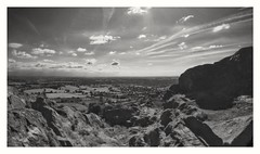 Looking South (Develew) Tags: mewcop lookingsouth staffordshire cheshire blackwhite whiteandblack monochrome landscape rocks sky cloudscape clouds fields