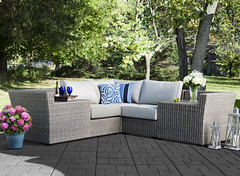 Bayshore Modular Sofa (raymourandflanigan) Tags: outdoor spring summer backyard patio furniture patiofurniture outdoorfurniture deck porch couch sofa cushions wicker wickerfurniture pillows throwpillows allweather home house