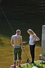 fishing for..   Jupiter 11A 4/135 (Argon X) Tags: fishing couple river water tackle rod young bridge blonde