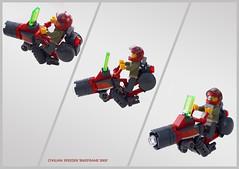 District 18 civilian hoverbike 'Bikeframe 3000' (Brixnspace) Tags: lego moc speeder district18 district 18 bike red civilian