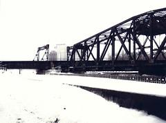 un train pour quelque part... (photosgabrielle) Tags: photosgabrielle urban bwphotography noiretblanc winter neige snow hiver montreal monochrome