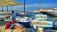 Great place to work (gerard eder) Tags: world travel reise viajes europa europe france côtedazur sainttropez harbour hafen harbor boats boote barcas paintings painter artist landscape landschaft paisajes panorama city ciudades cityscape cityview outdoor
