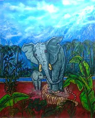 AT THE WATERHOLE. (tomas491) Tags: water mountains tiger elephants sky clouds mist plants angry acrylic fantasypainting