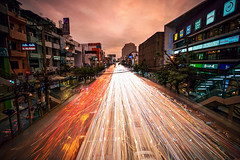 Rush Hour Lights (Matt Molloy) Tags: mattmolloy timelapse photography timestack photostack movement motion traffic rushhour lights lines trails road lanes cars buildings apartments skyscrapers trees powerlines sunset clouds signs busy city bangkok thailand lovelife