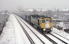 Godalming UK     1975 (keithwilde152) Tags: br class330 farncombe godalming uk 1975 van train town tracks signal box diesel locomotives spring snow