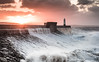 Porthcawl Sunrise (Nathan J Hammonds) Tags: lighthouse porthcawl wales uk sea coast water wave waves breaker sun sunrise clouds morning nikon d750 storm seascape colour