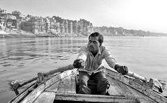 Boatman from Varanasi (BockoPix) Tags: ganges ganga river varanasi benares india boatman water gat boat man