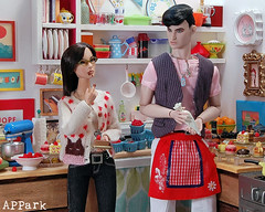 Do What You Love: Bake (APPark) Tags: dolls fashionroyalty 16scale dioramas sininthecity hobbies miniatures rement orcara baking cakes pastries apron chocolate kitchen ooakgiselle declan nuface colorinfusion