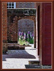 In the Courtyard (acadia_breeze4130) Tags: williamsburg virginia colonial historic light lights shadow shadows garden gardens formal english courtyard flowers springtime history outside sx60hs karencarlson palace governors window arch bricks