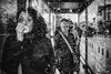 (Ross Magrath) Tags: rainy day street woman drops glass wet bad weather rain blowing nose shelter bus black white mono miserable