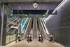 Metro Station, Lauttasaari, Drumsö (pni) Tags: escalator metal clock light sign wall floor ceiling quiet interior metro station lauttasaari drumsö helsinki helsingfors finland suomi pekkanikrus skrubu pni