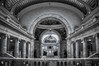Utah State Capitol Building (donnieking1811) Tags: utah saltlakecity utahstatecapitolbuilding columns staircase stairs architecture building arch arches paintings lights atrium ceiling walkway rotunda people bride photographer hdr canon 60d lightroom photomatixpro blackwhite bw